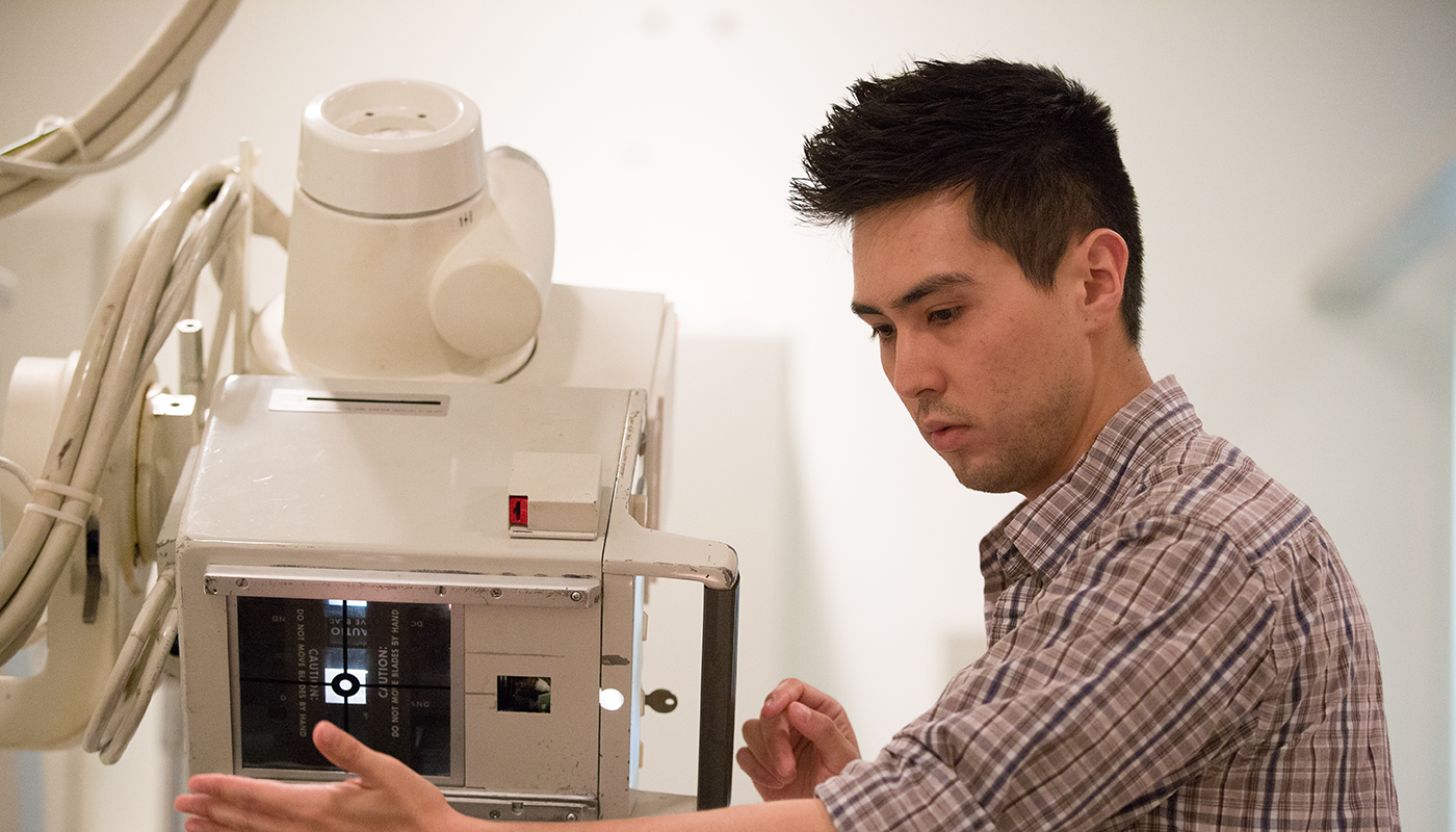 SBCC Medical Imaging student getting hands-on practice